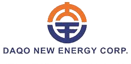 Circular orange and blue logo with 'Daqo New Energy Corp.' written in bold blue underneath
